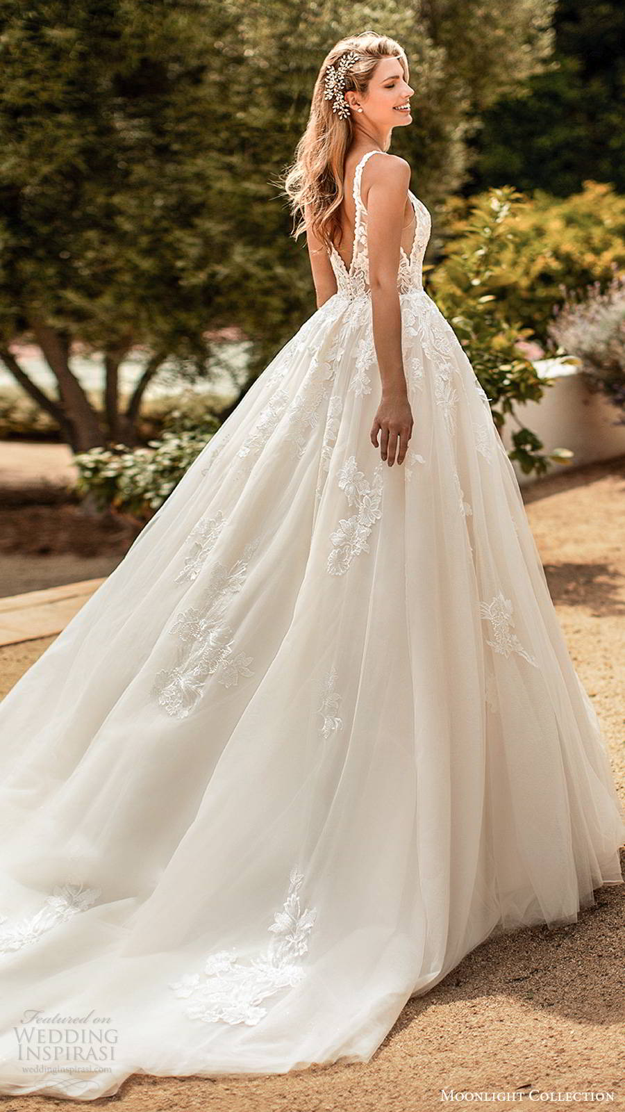 moonlight collection spring 2020 bridal sleevess thick straps plunging v neckline embellished bodice princess ball gown wedding dress v back chapel train (6) bv