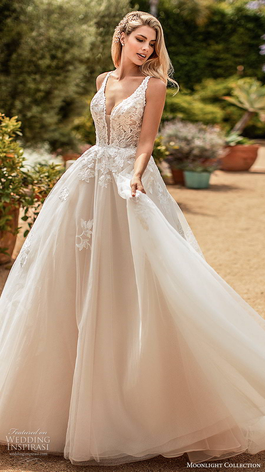 moonlight collection spring 2020 bridal sleevess thick straps plunging v neckline embellished bodice princess ball gown wedding dress v back chapel train (6) mv