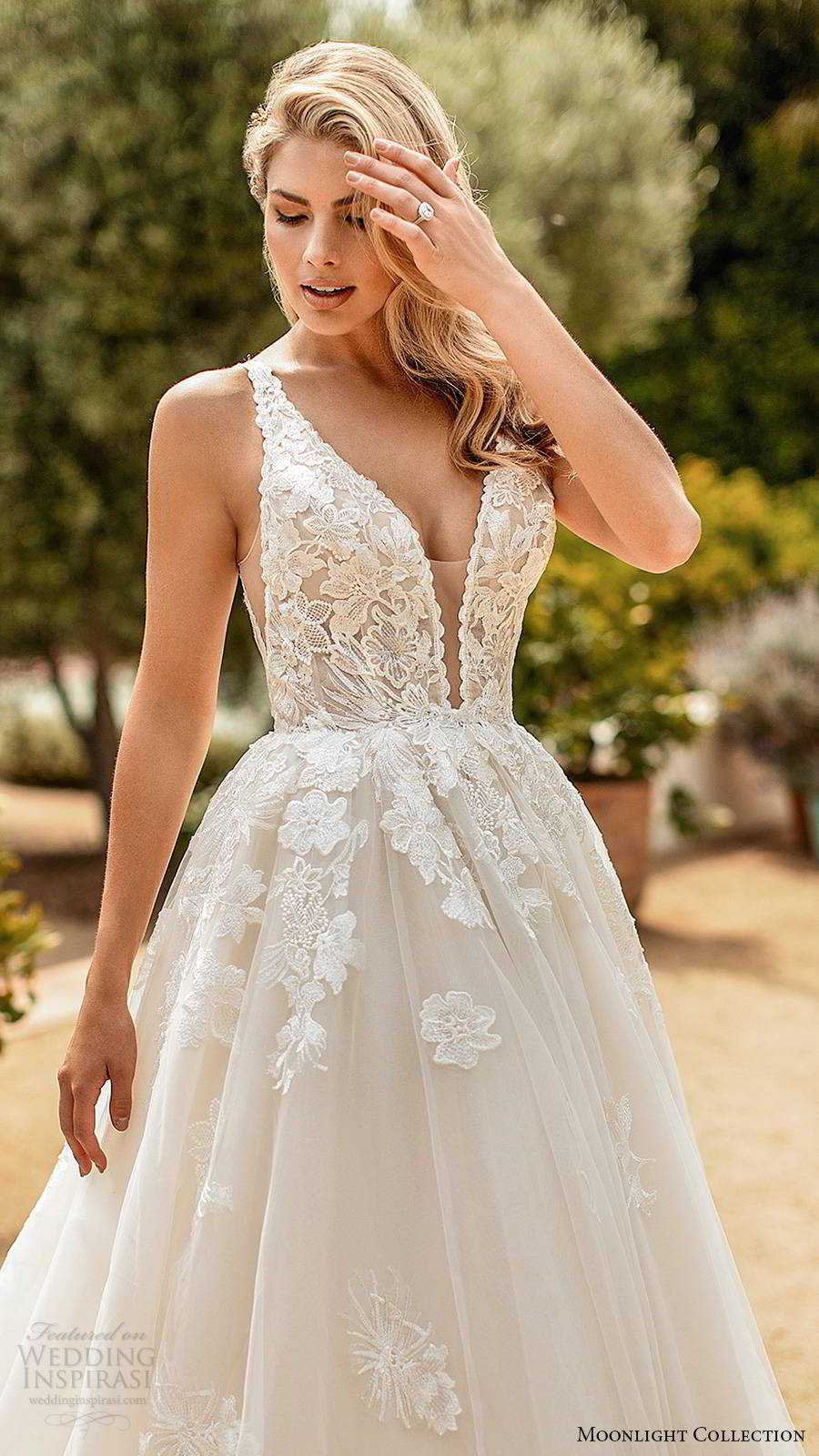 moonlight collection spring 2020 bridal sleevess thick straps plunging v neckline embellished bodice princess ball gown wedding dress v back chapel train (6) zv