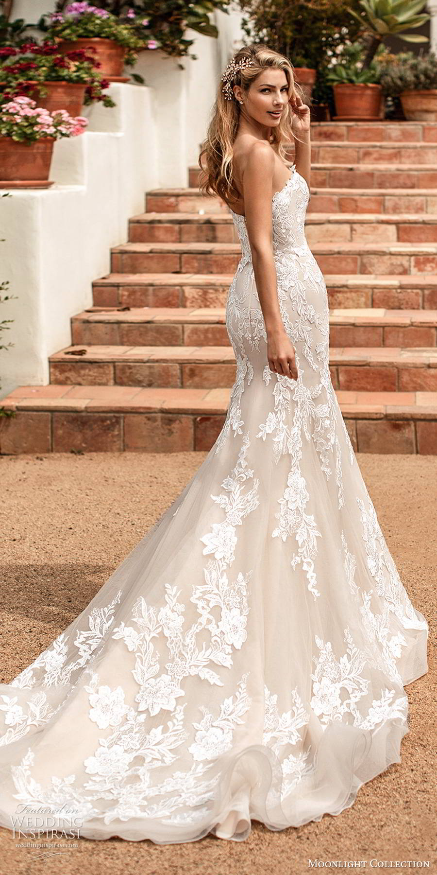 moonlight collection spring 2020 bridal strapless sweetheart fully embellished lace sheath elegant romantic wedding dress chapel train (12) bv