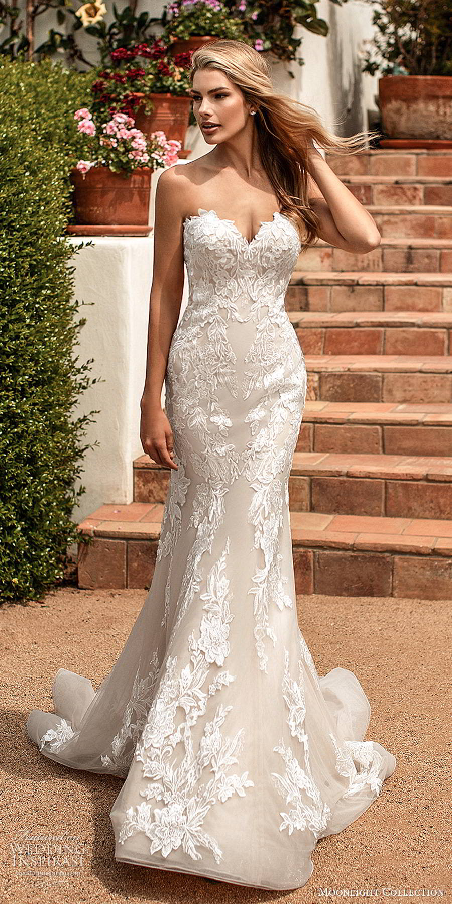 moonlight collection spring 2020 bridal strapless sweetheart fully embellished lace sheath elegant romantic wedding dress chapel train (12) mv
