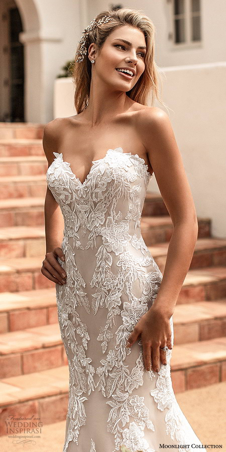 moonlight collection spring 2020 bridal strapless sweetheart fully embellished lace sheath elegant romantic wedding dress chapel train (12) zv
