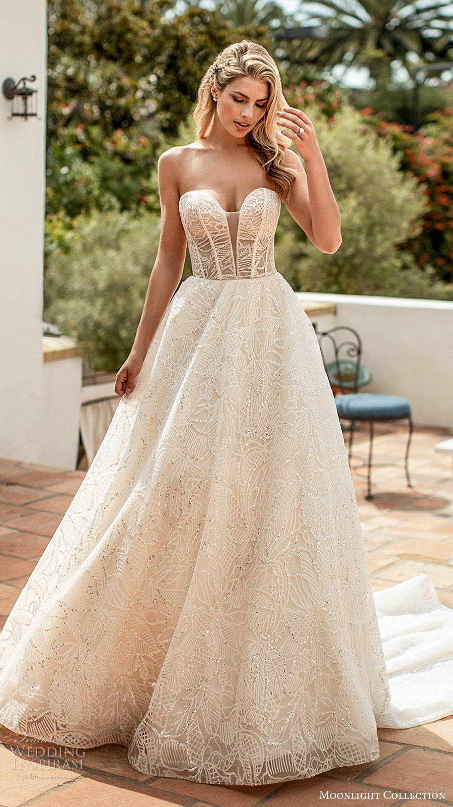 moonlight collection spring 2020 bridal straplesss sweetheart neckline sheer bodice fully embellished glitzy romantic a line ball gown wedding dress chapel train (9) mv
