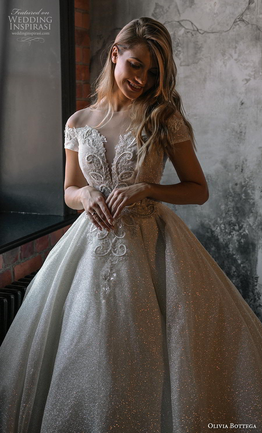 olivia bottega 2020 bridal short sleeves deep plunging sweetheart neckline heavily embellished bodice glamorous princess ball gown a  line wedding dress sheer button v back royal train (1) zv
