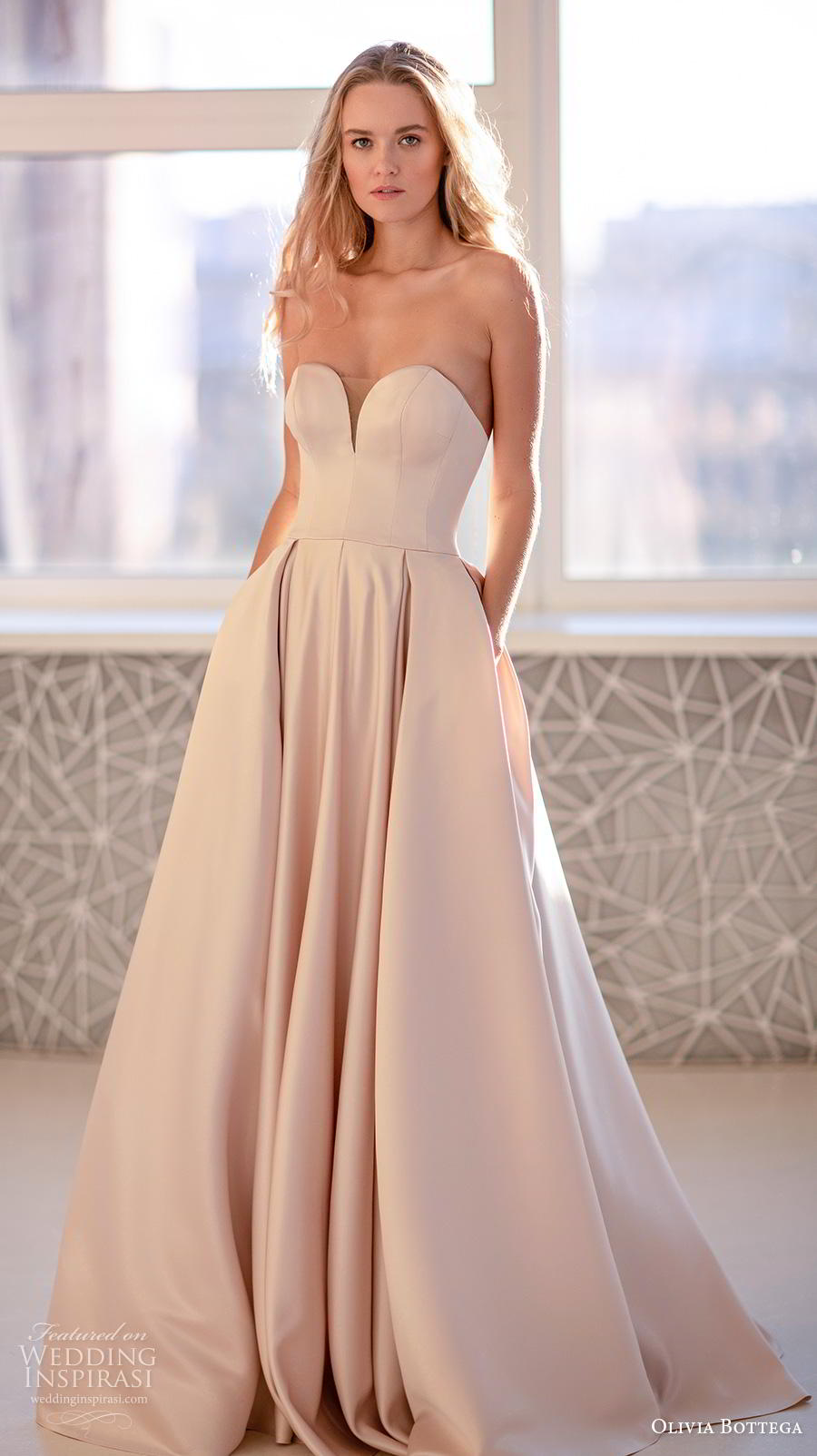 olivia bottega 2020 bridal strapless sweetheart neckline simple minimalist romantic a  line wedding dress with pockets sweep train (6) mv