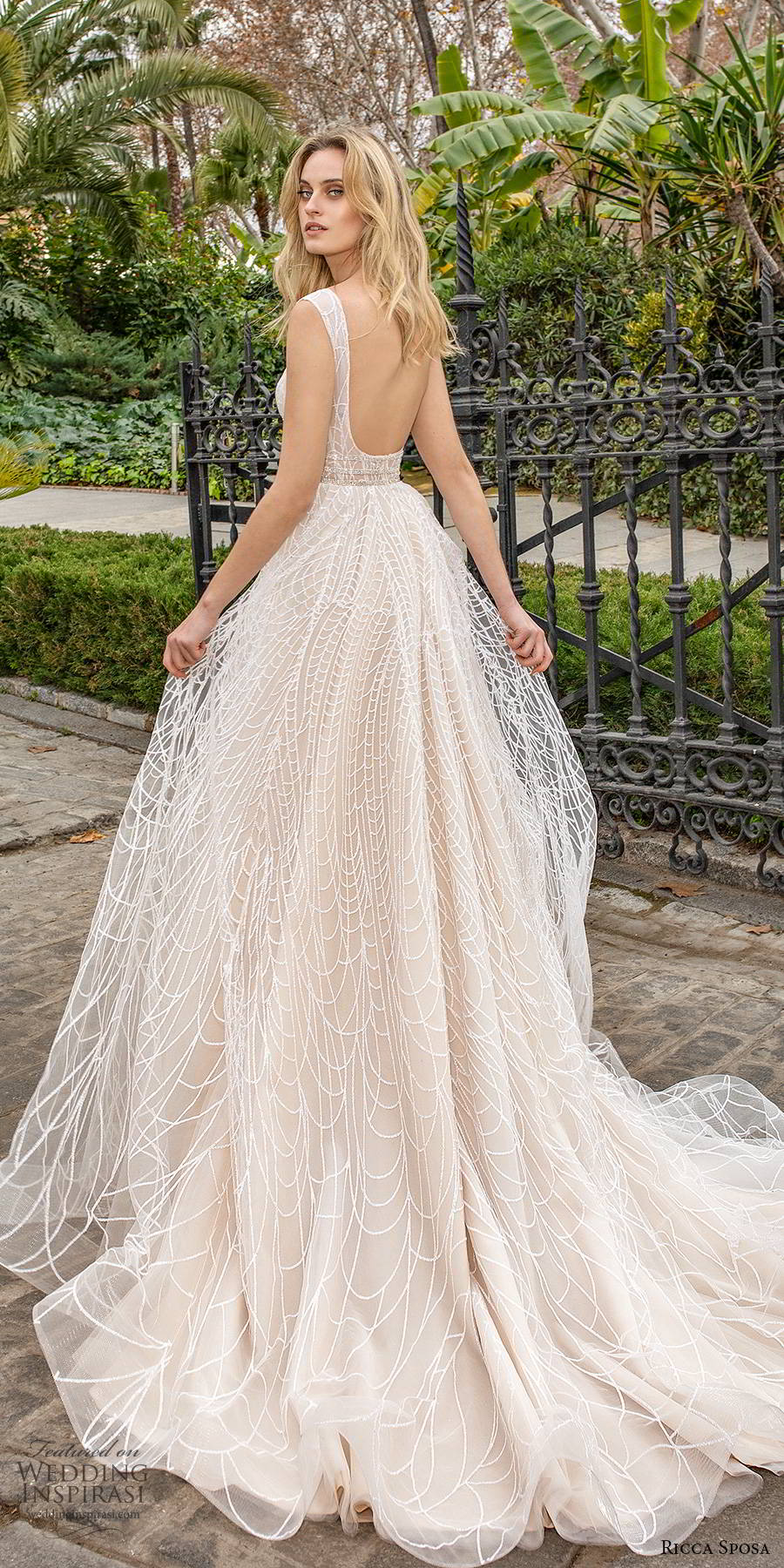 ricca sposa 2019 bridal cap sleeves deep v neckline a line ball gown wedding dress slit skirt chapel train (7) bv