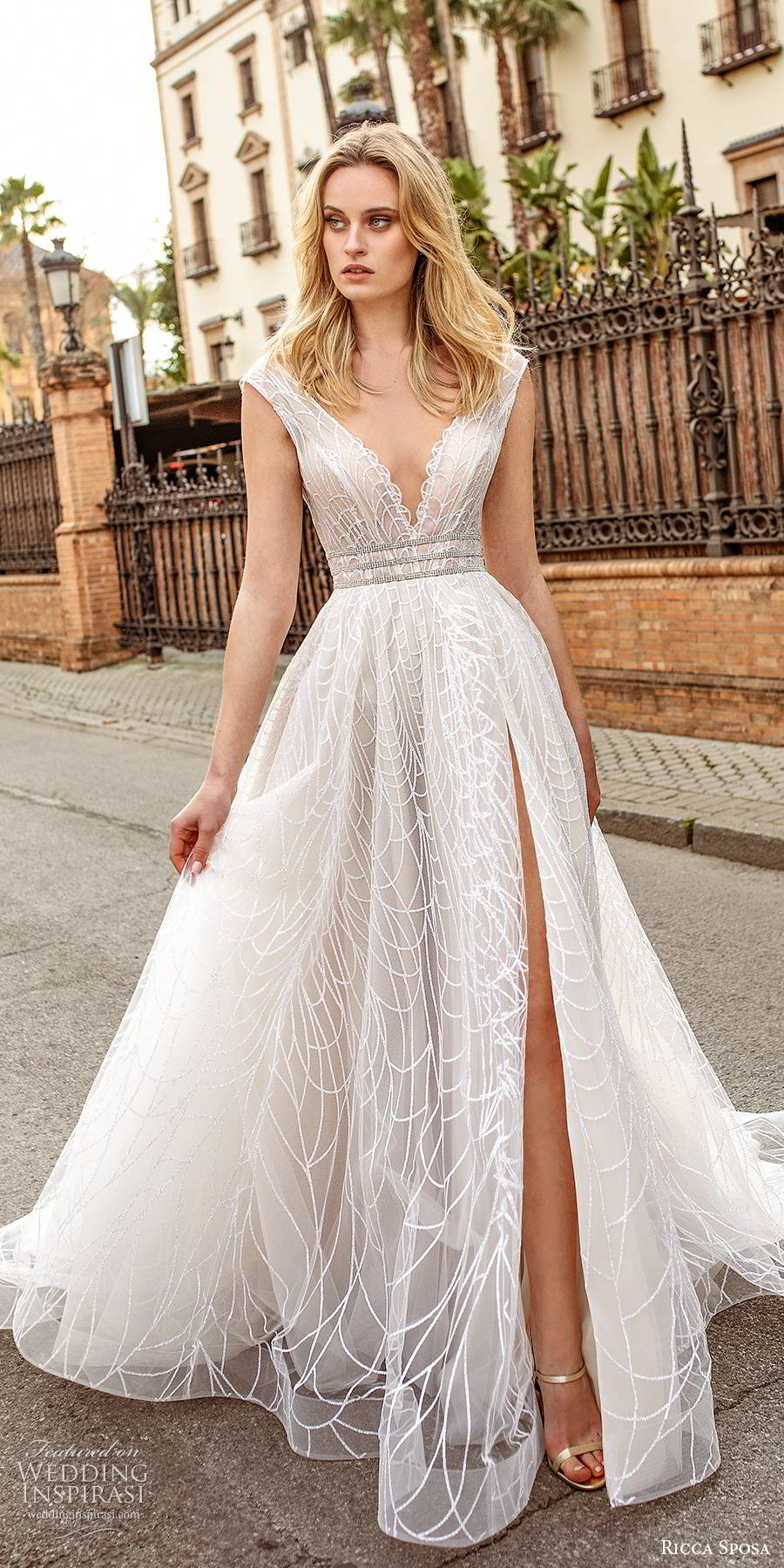 ricca sposa 2019 bridal cap sleeves deep v neckline a line ball gown wedding dress slit skirt chapel train (7) mv