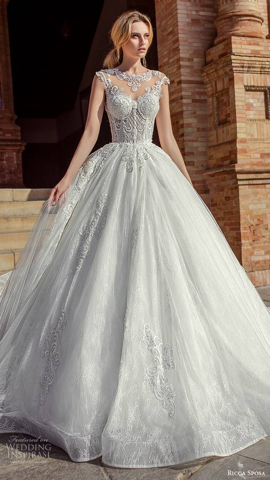 ricca sposa 2019 bridal illusion cap sleeves jewel neckline embellished bodice romantic princess a line ball gown wedding dress illusion back cathedral train (3) mv