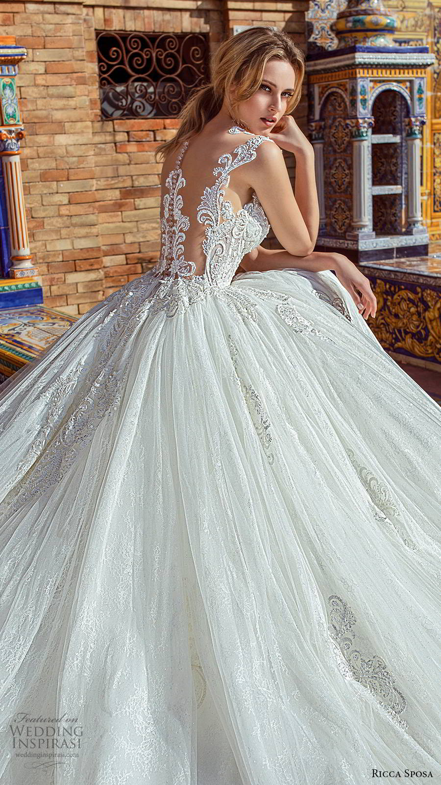 ricca sposa 2019 bridal illusion cap sleeves jewel neckline embellished bodice romantic princess a line ball gown wedding dress illusion back cathedral train (3) zbv
