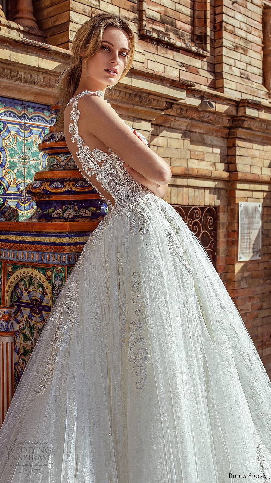 ricca sposa 2019 bridal illusion cap sleeves jewel neckline embellished bodice romantic princess a line ball gown wedding dress illusion back cathedral train (3) zsv