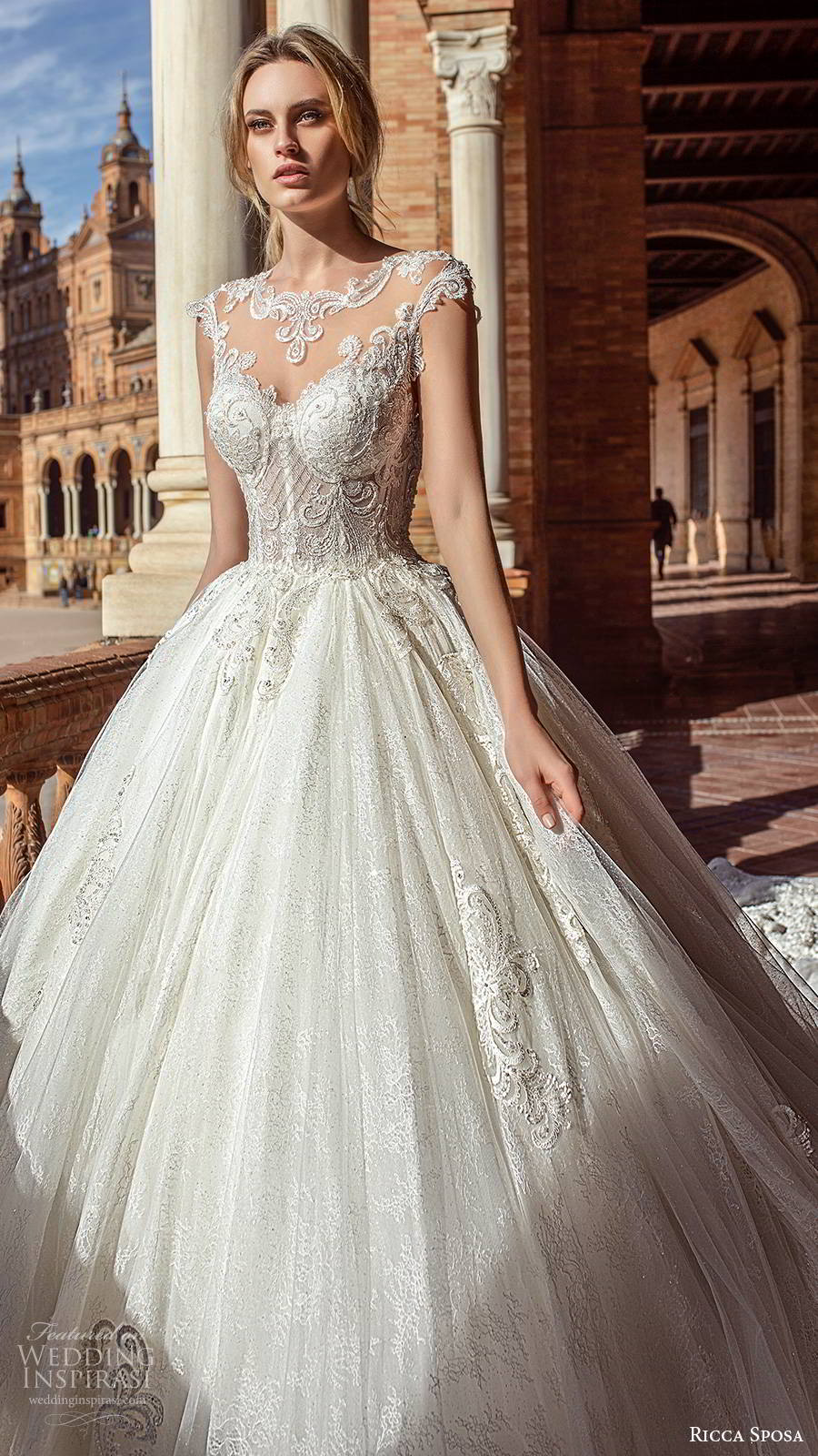 ricca sposa 2019 bridal illusion cap sleeves jewel neckline embellished bodice romantic princess a line ball gown wedding dress illusion back cathedral train (3) zv
