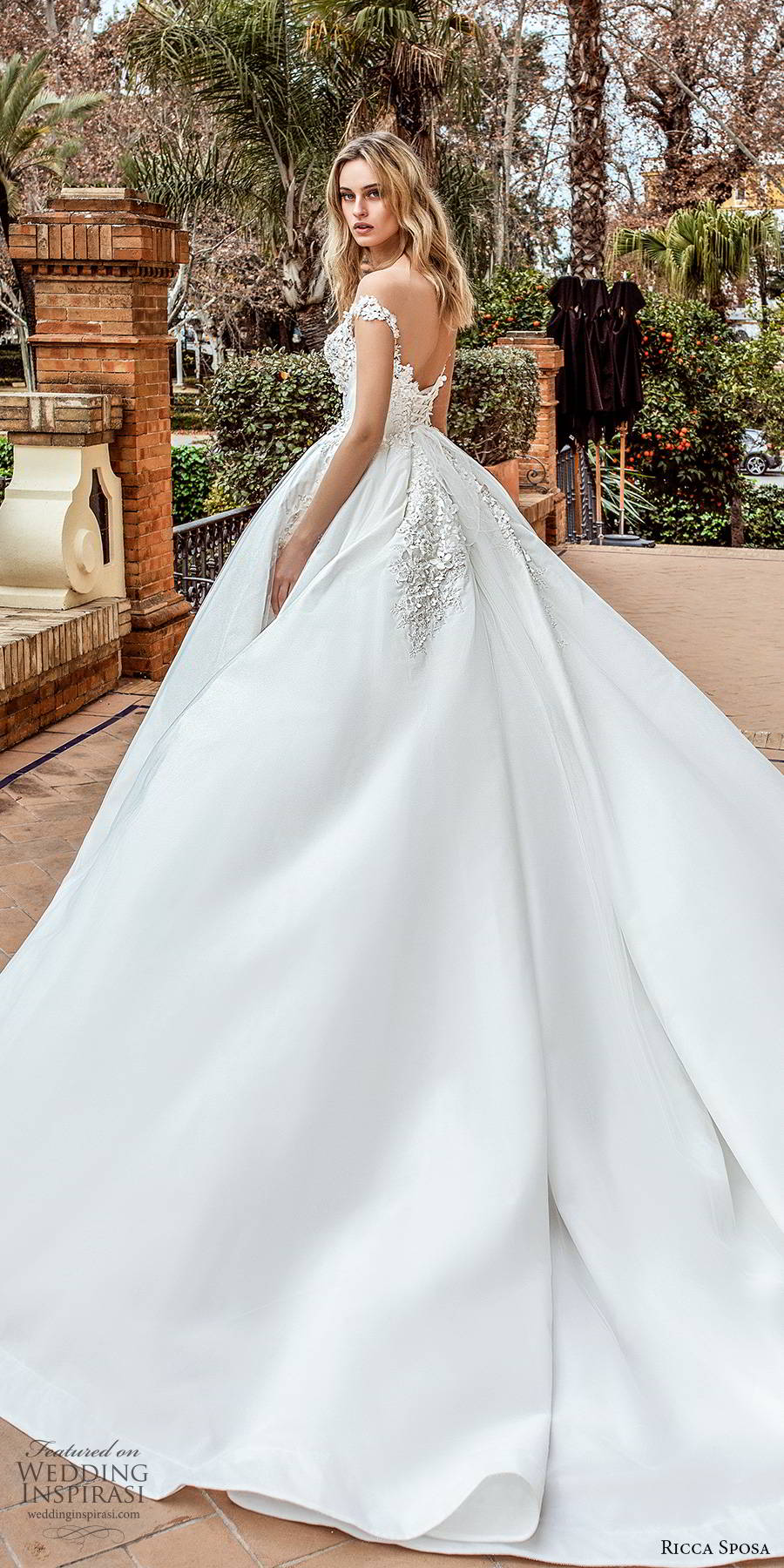 ricca sposa 2019 bridal illusion cap sleeves off shoulder sweetheart neckline fully embellished a line ball gown romantic wedding dress scoop back cathedral train (11) bv