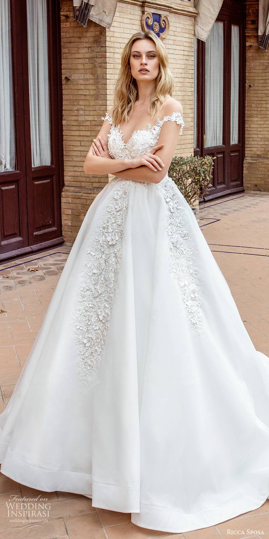 ricca sposa 2019 bridal illusion cap sleeves off shoulder sweetheart neckline fully embellished a line ball gown romantic wedding dress scoop back cathedral train (11) mv