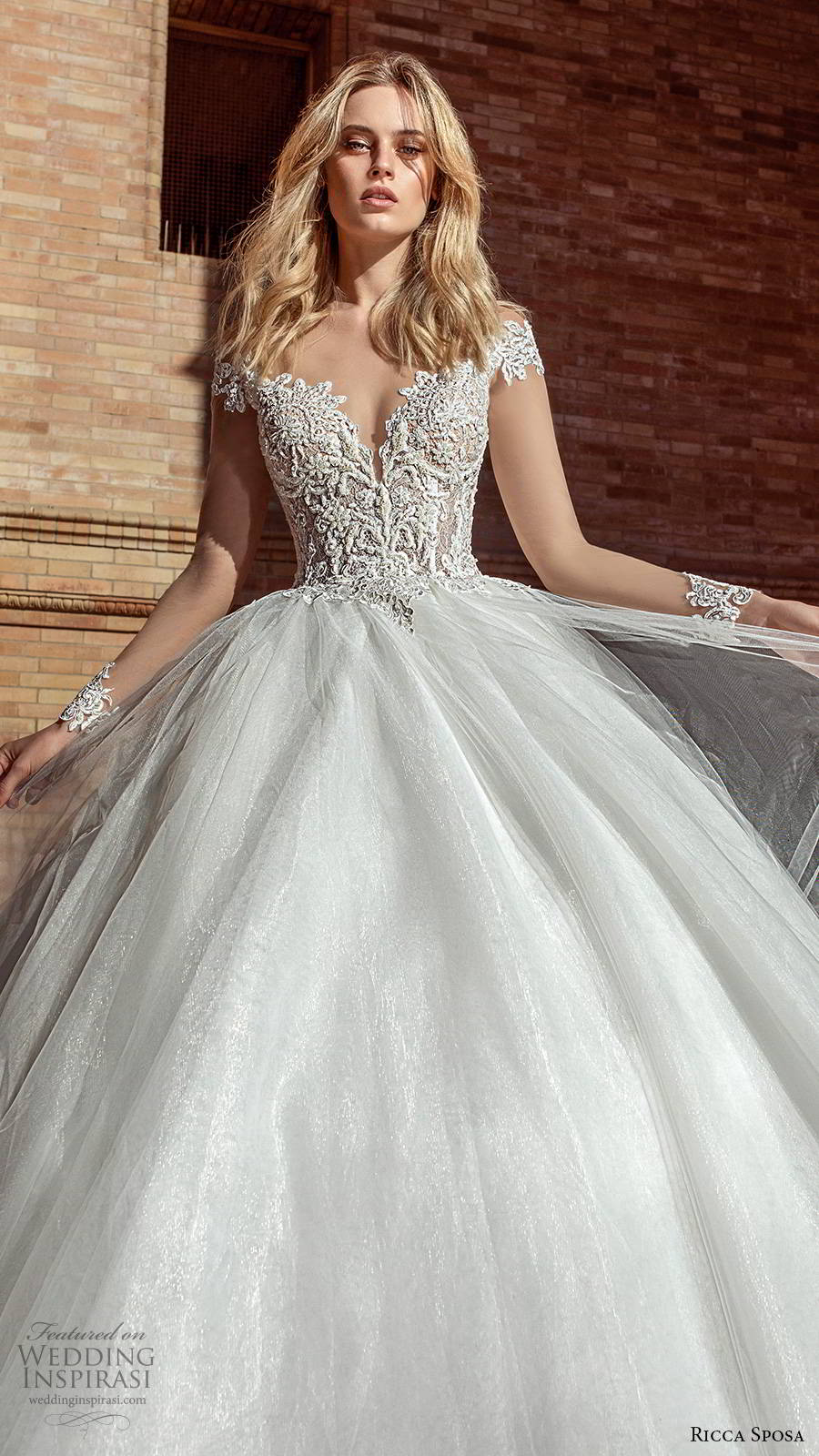 ricca sposa 2019 bridal illusion long sleeves off shoulder sweetheart neckline embellished bodice romantic a line ball gown wedding dress v back cathedral train (4) mv