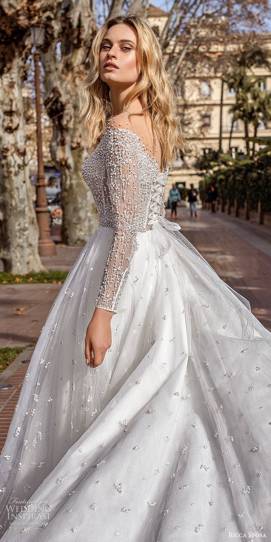 ricca sposa 2019 bridal illusion long sleeves off shoulder sweetheart neckline fully embellished a line romantic glitzy ball gown wedding dress chapel train (13) zbv