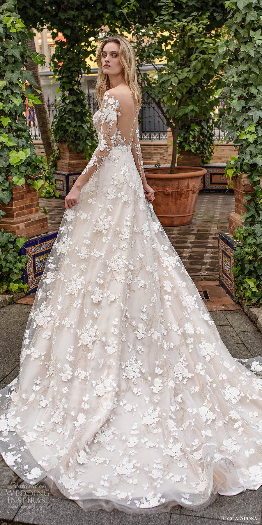 ricca sposa 2019 bridal illusion long sleeves off shoulder sweetheart neckline fully embellished elegant a line wedding dress illusion back cathedral train (6) bv