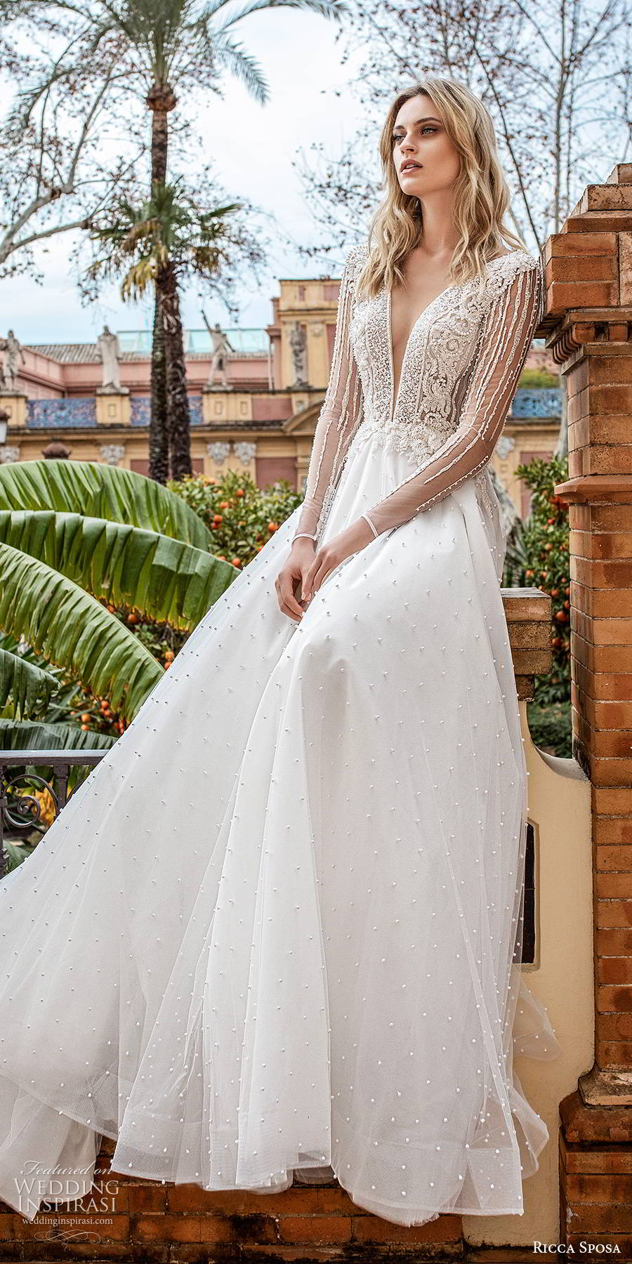ricca sposa 2019 bridal illusion long sleeves plunging v neckline embellishd bodice glitzy romantic a line ball gown wedding dress v back chapel train (14) mv