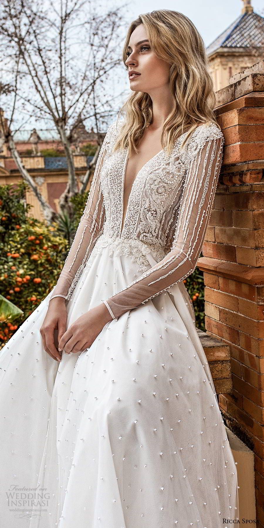 ricca sposa 2019 bridal illusion long sleeves plunging v neckline embellishd bodice glitzy romantic a line ball gown wedding dress v back chapel train (14) zv