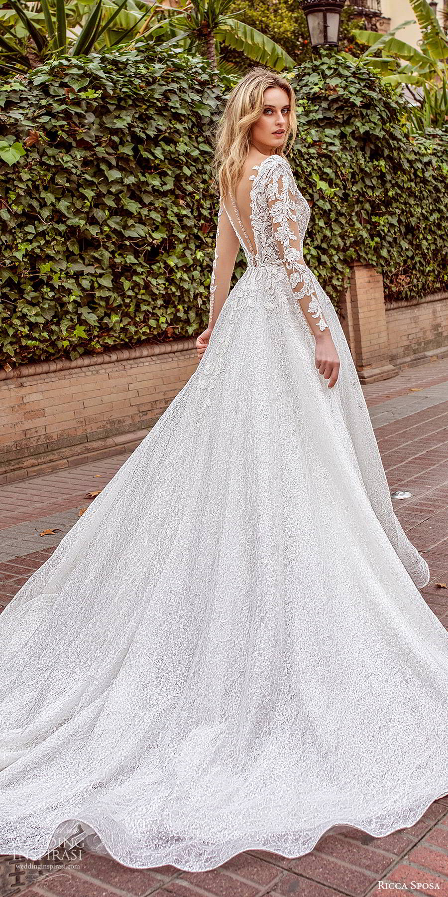 ricca sposa 2019 bridal illusion long sleeves plunging v neckline fully embellished elegant a line ball gown lace wedding dress v back chapel train (8) bv