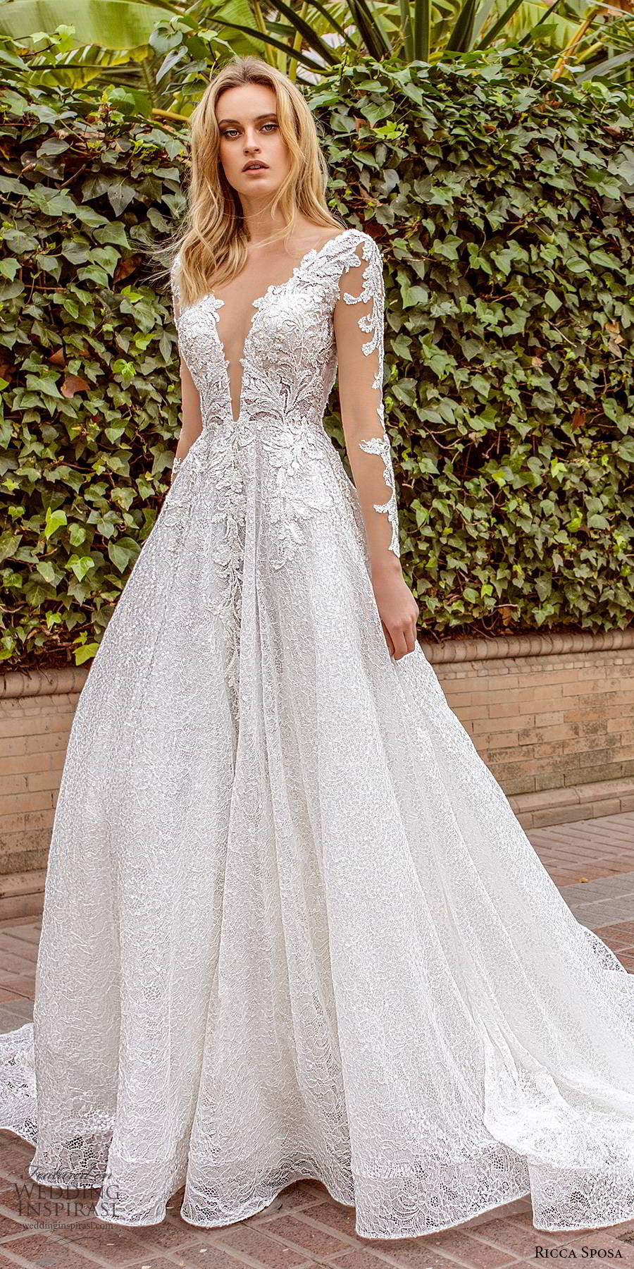ricca sposa 2019 bridal illusion long sleeves plunging v neckline fully embellished elegant a line ball gown lace wedding dress v back chapel train (8) mv