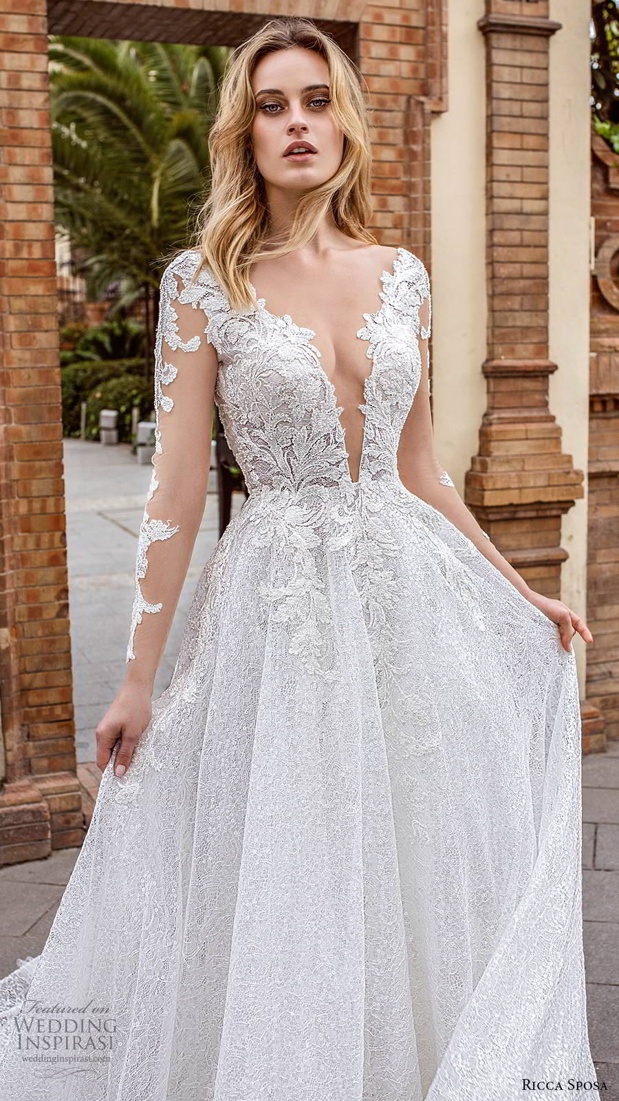 ricca sposa 2019 bridal illusion long sleeves plunging v neckline fully embellished elegant a line ball gown lace wedding dress v back chapel train (8) zv