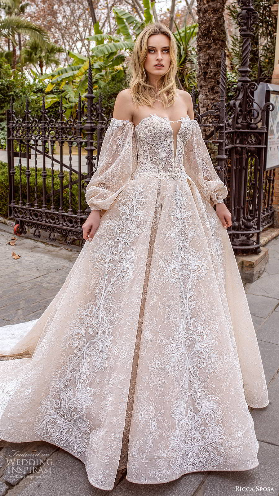 ricca sposa 2019 bridal off shoulder semi sweetheart fully embellished romantic ball gown a line wedding dress chapel train blush color (1) mv