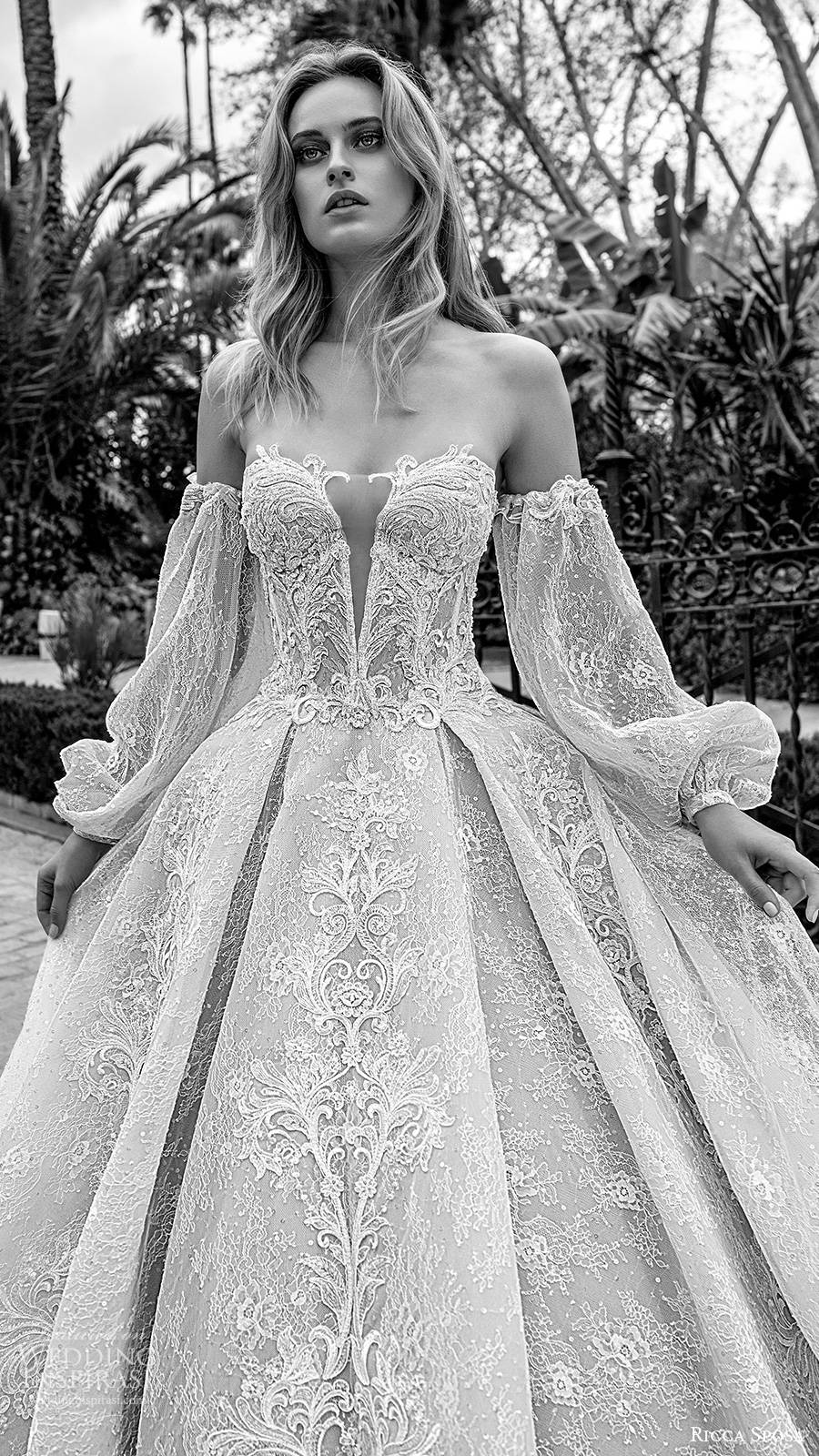 ricca sposa 2019 bridal off shoulder semi sweetheart fully embellished romantic ball gown a line wedding dress chapel train blush color (1) zv