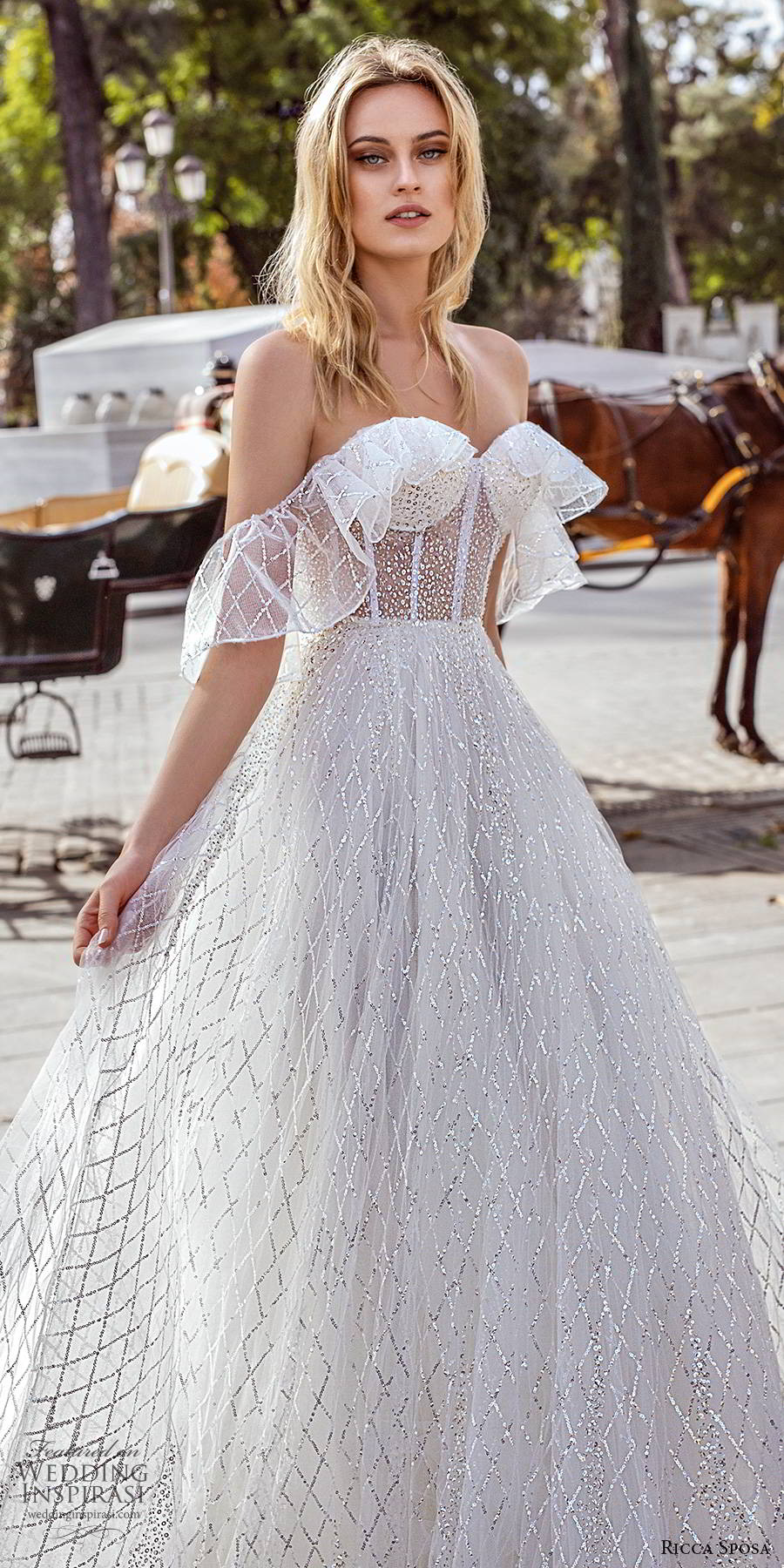 ricca sposa 2019 bridal off shoulder sweetheart neckline sheer corset bodice romantic glitzy a line ball gown wedding dress chapel train (12) zv