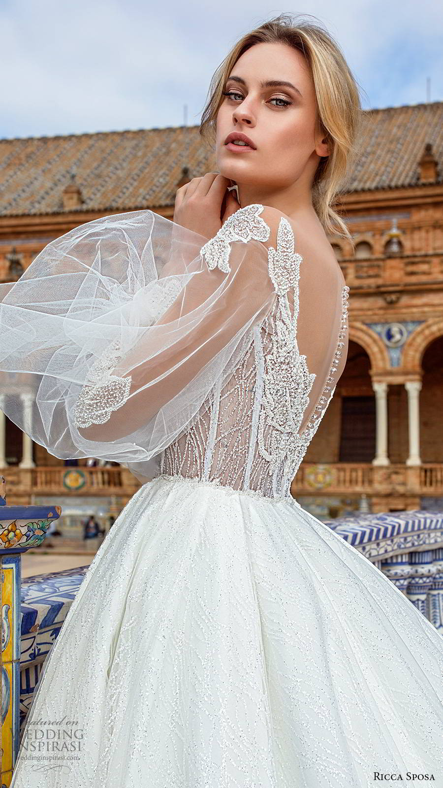 ricca sposa 2019 bridal sheer balloon bishop sleeves off shoulder v neckline embellished corset bodice romantic a line ball gown wedding dress sheer back cathedral train (9) sv