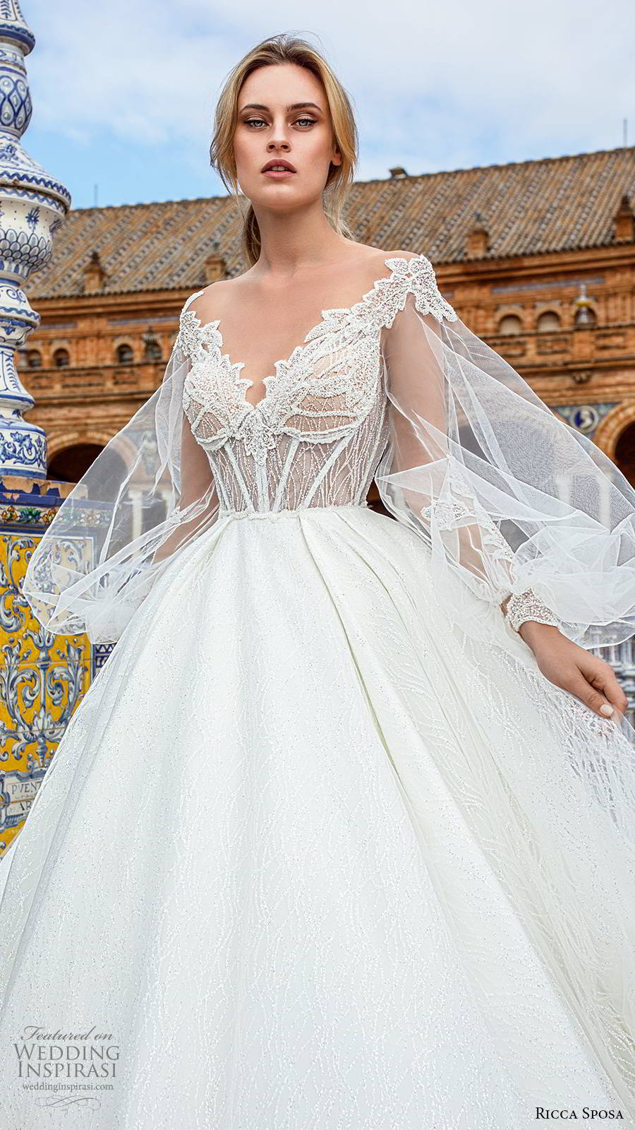 ricca sposa 2019 bridal sheer balloon bishop sleeves off shoulder v neckline embellished corset bodice romantic a line ball gown wedding dress sheer back cathedral train (9) zv