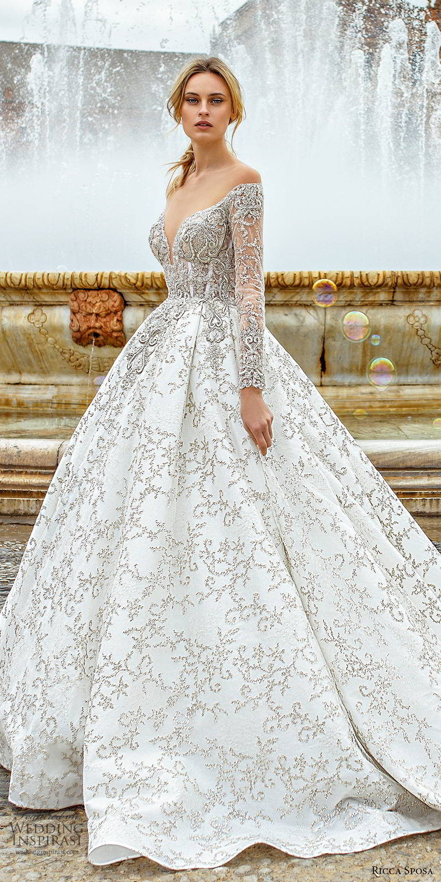 ricca sposa 2019 bridal sheer long sleeves off shoulder sweetheart neckline fully embellished elegant a line ball gown wedding dress v back cathedral train (8) mv