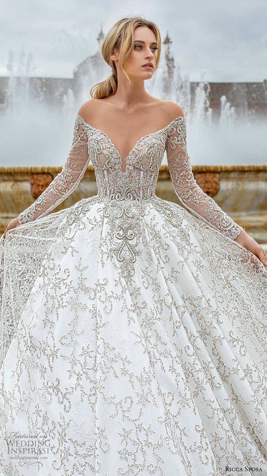 ricca sposa 2019 bridal sheer long sleeves off shoulder sweetheart neckline fully embellished elegant a line ball gown wedding dress v back cathedral train (8) zv