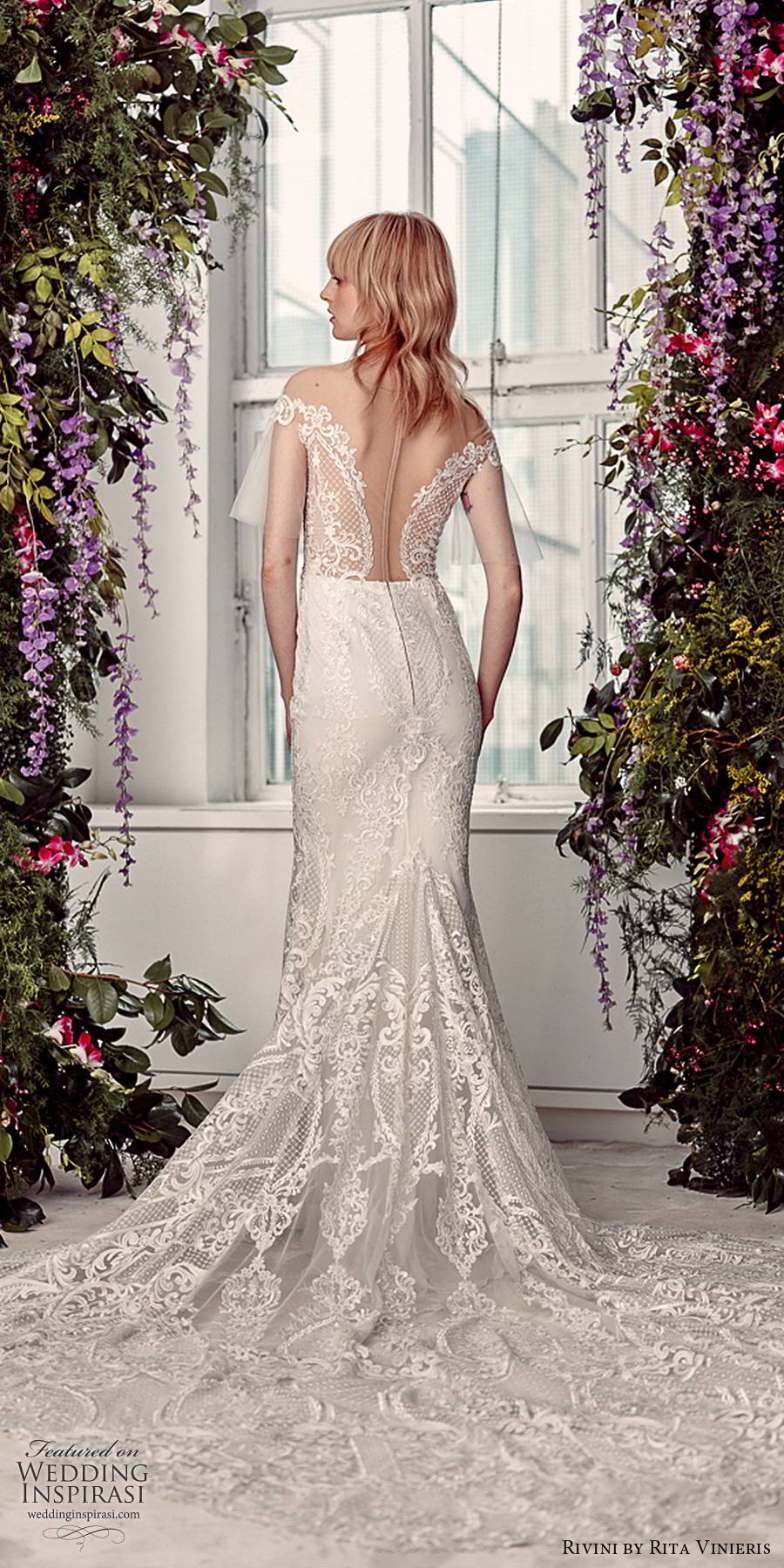 rivini by rita vinieris spring 2020 bridal sheer butterfly sleeves off shoulder straight across neckline fully embellished lace elegant sheath wedding dress illusion back chapel train (3) bv