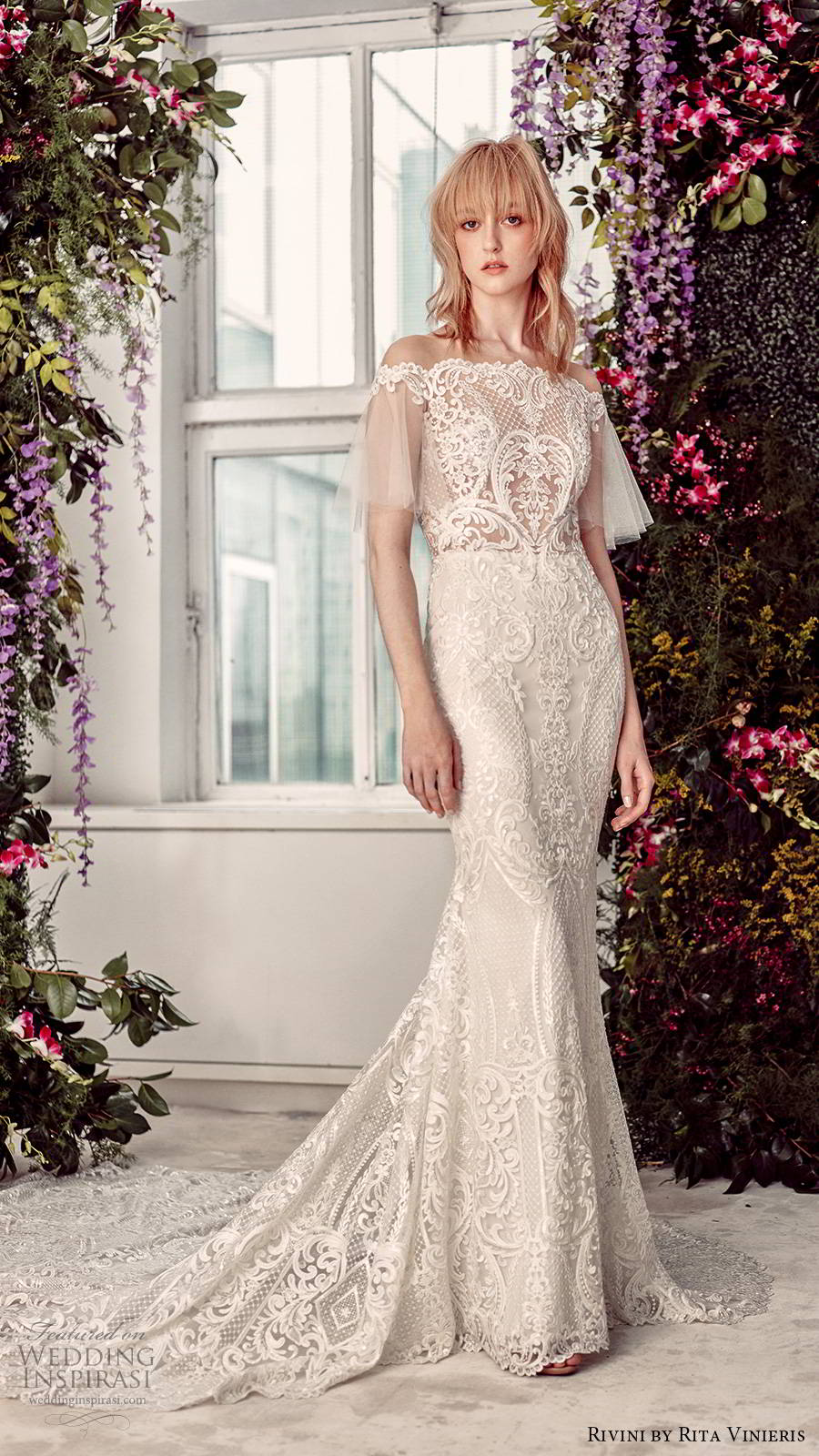rivini by rita vinieris spring 2020 bridal sheer butterfly sleeves off shoulder straight across neckline fully embellished lace elegant sheath wedding dress illusion back chapel train (3) mv