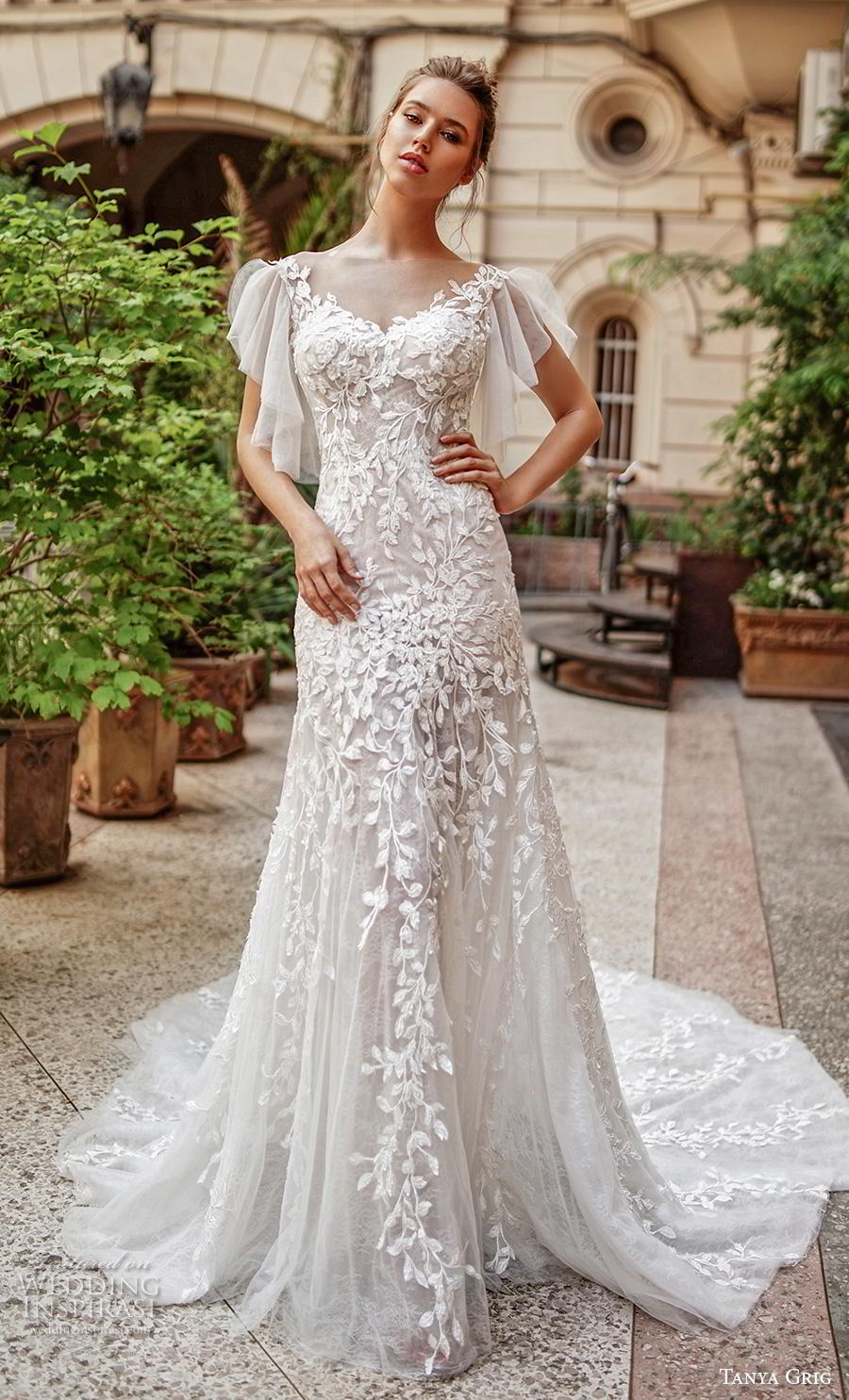 tanya grig 2020 bridal butterfly sleeves v neck full embellishment romantic drop waist modified a  line wedding dress sheer button back chapel train (8) mv