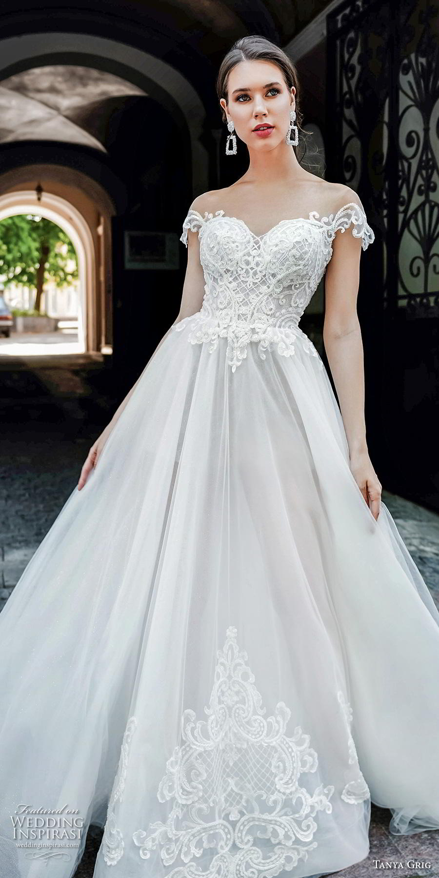 tanya grig 2020 bridal cap sleeves illlusion bateau sweetheart neckline heavily embellished bodice glamorous princess a  line wedding dress backless chapel train (16) lv