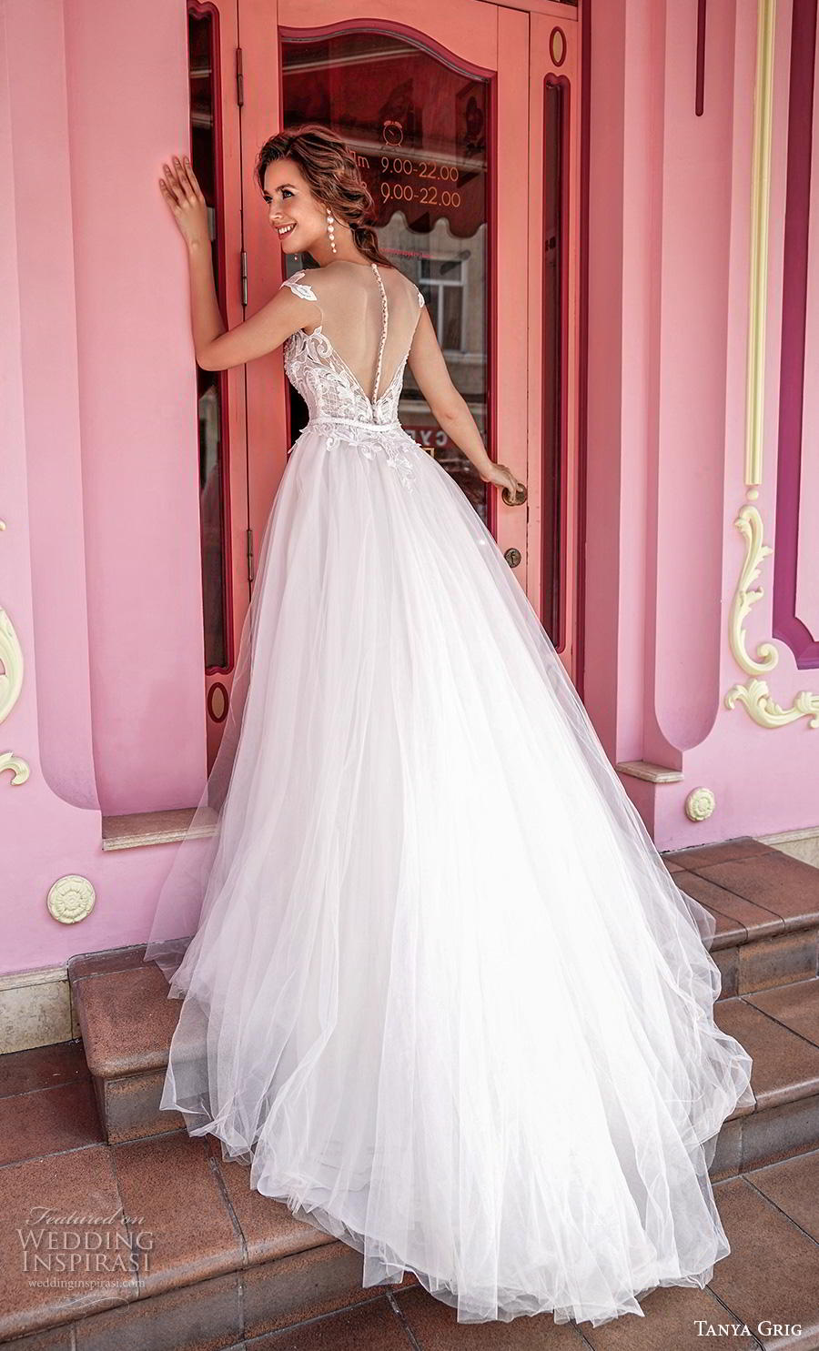 tanya grig 2020 bridal cap sleeves illusion bateau sweetheart neckline heavily embellished bodice romantic a  line wedding dress sheer button back chapel train (7) bv