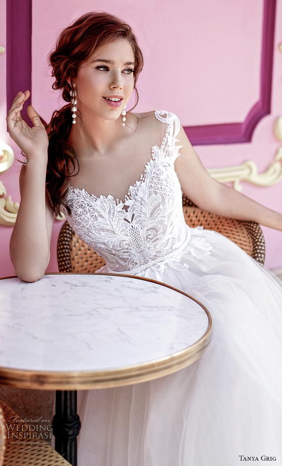 tanya grig 2020 bridal cap sleeves illusion bateau sweetheart neckline heavily embellished bodice romantic a  line wedding dress sheer button back chapel train (7) zv