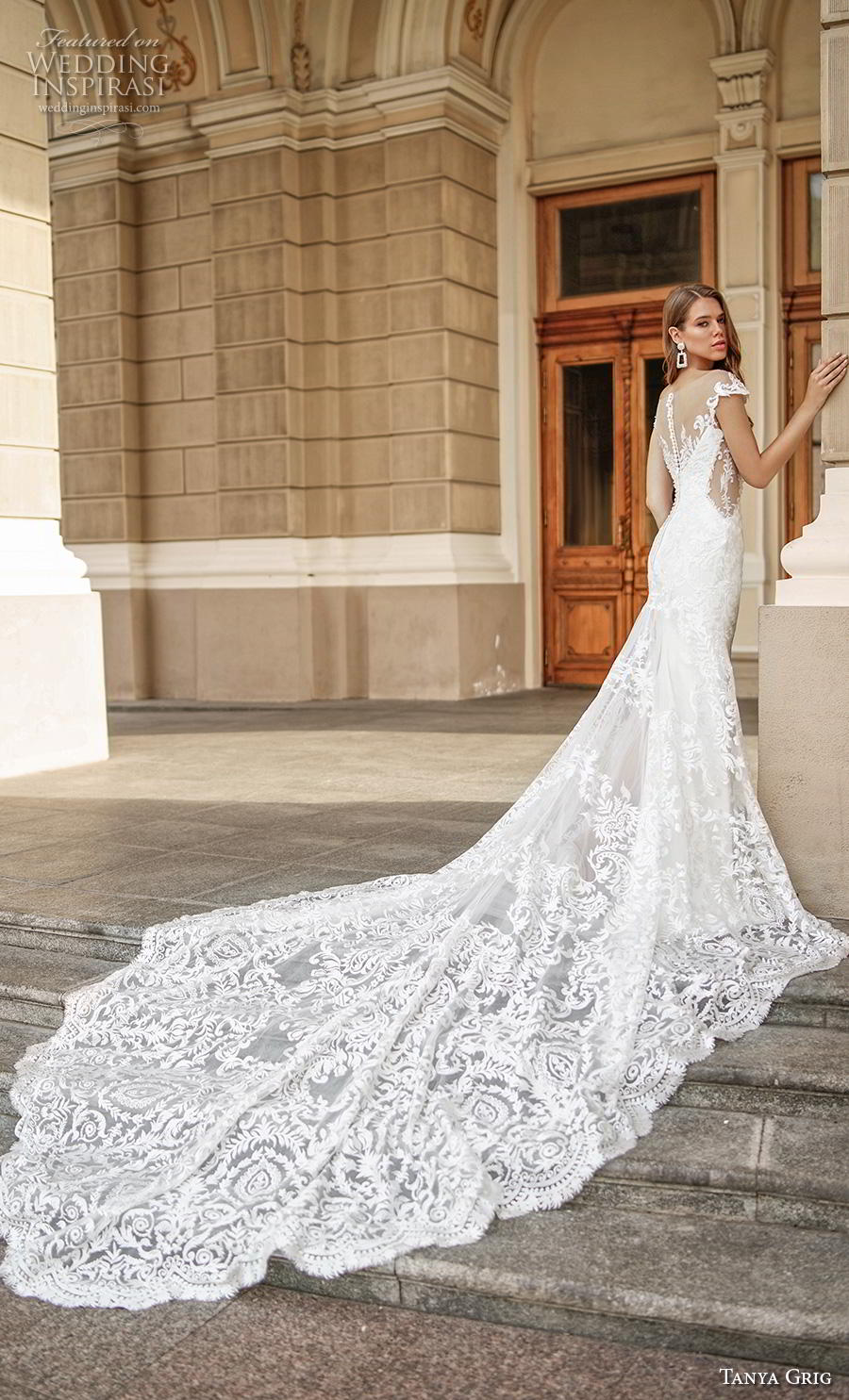 tanya grig 2020 bridal cap sleeves sweetheart neckline full embellishment elegant glamorous fit and flare wedding dress sheer button back royal train (6) bv