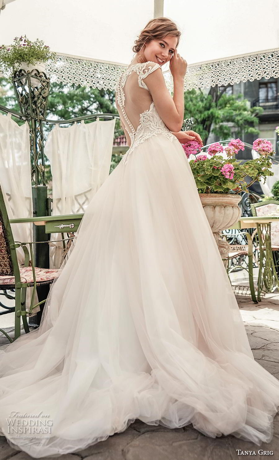 tanya grig 2020 bridal cap sleeves sweetheart neckline heavily embellished bodice romantic soft a  line wedding dress sheer button back chapel train (4) bv