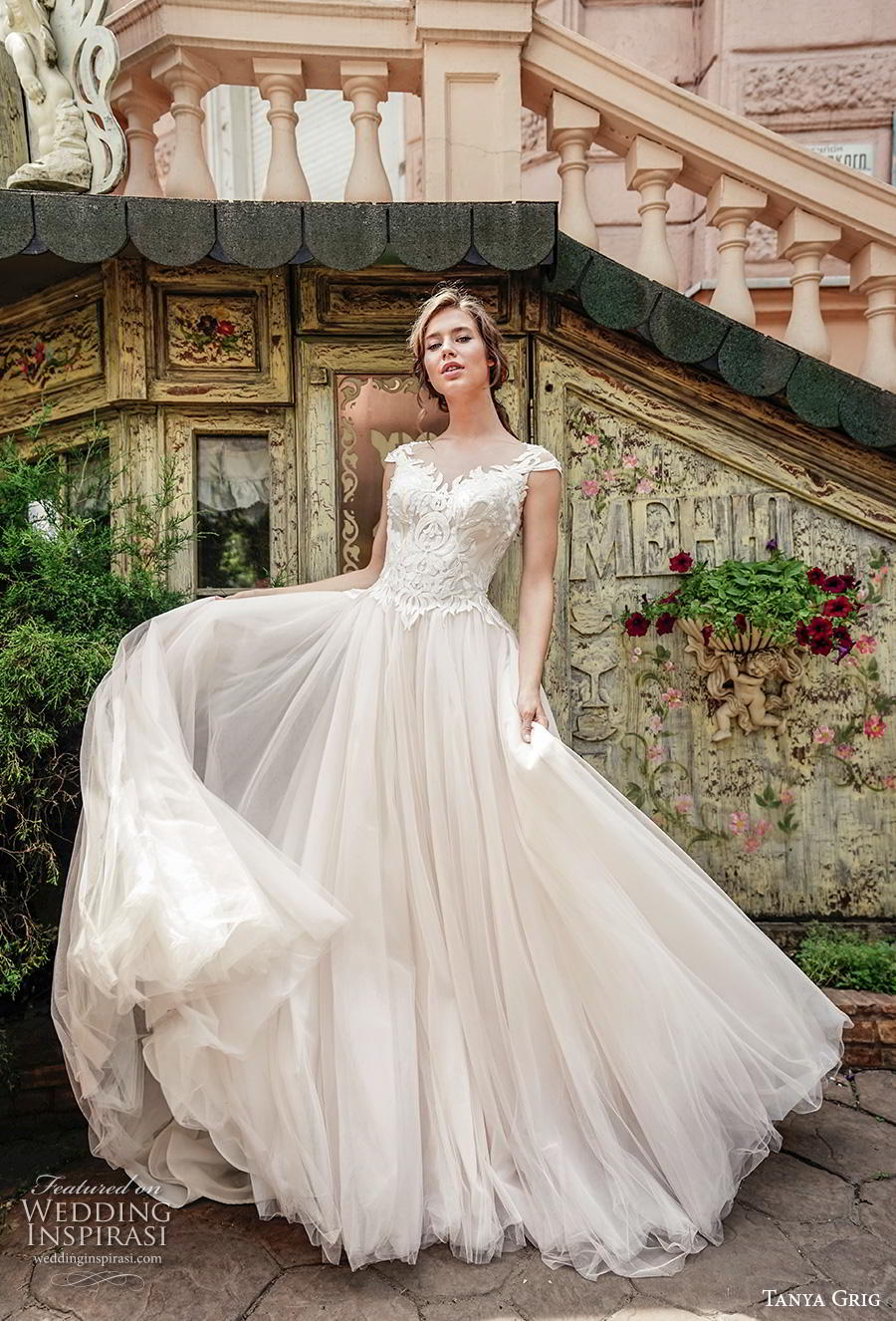 tanya grig 2020 bridal cap sleeves sweetheart neckline heavily embellished bodice romantic soft a  line wedding dress sheer button back chapel train (4) mv