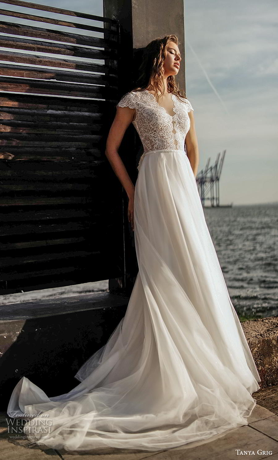tanya grig 2020 bridal cap sleeves v neck heavily embellished bodice elegant soft a  line wedding dress covered lace back chapel train (12) mv