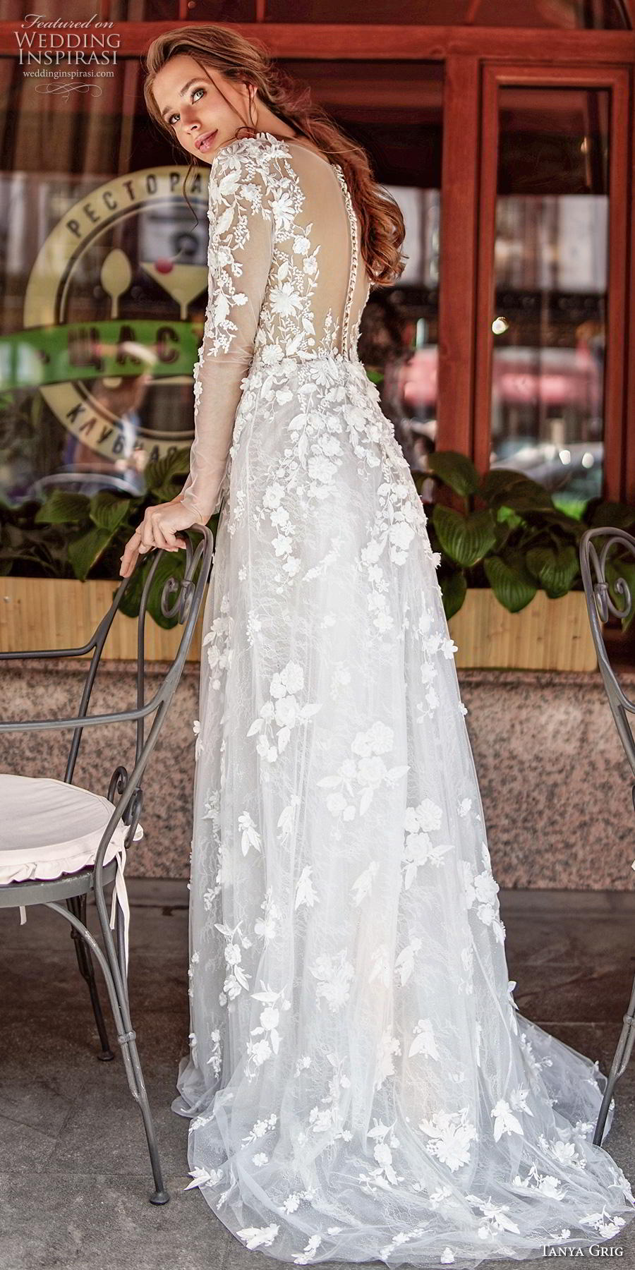 tanya grig 2020 bridal long sleeves deep v neck full embellishment romantic elegant modified a  line wedding dress sheer button back sweep train (1) bv