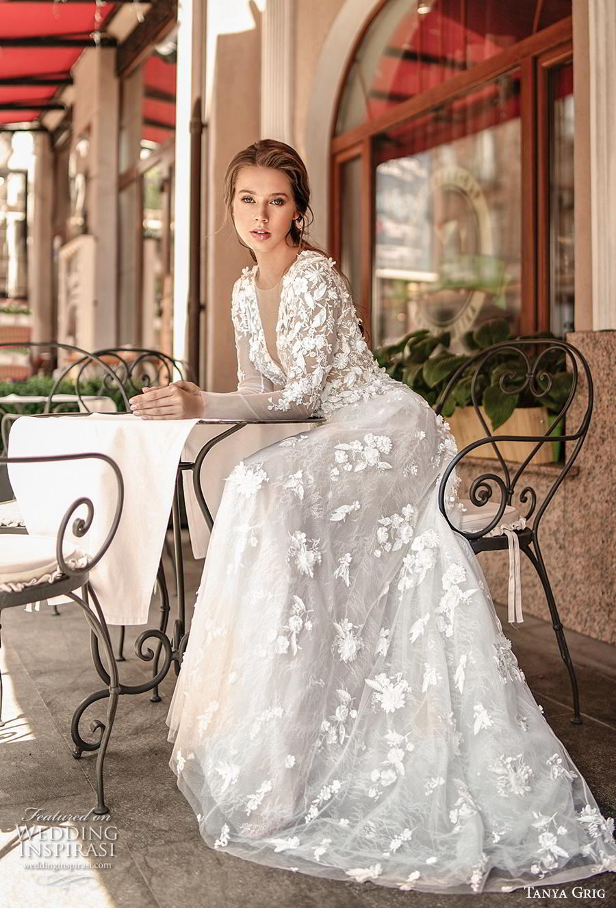 tanya grig 2020 bridal long sleeves deep v neck full embellishment romantic elegant modified a  line wedding dress sheer button back sweep train (1) mv