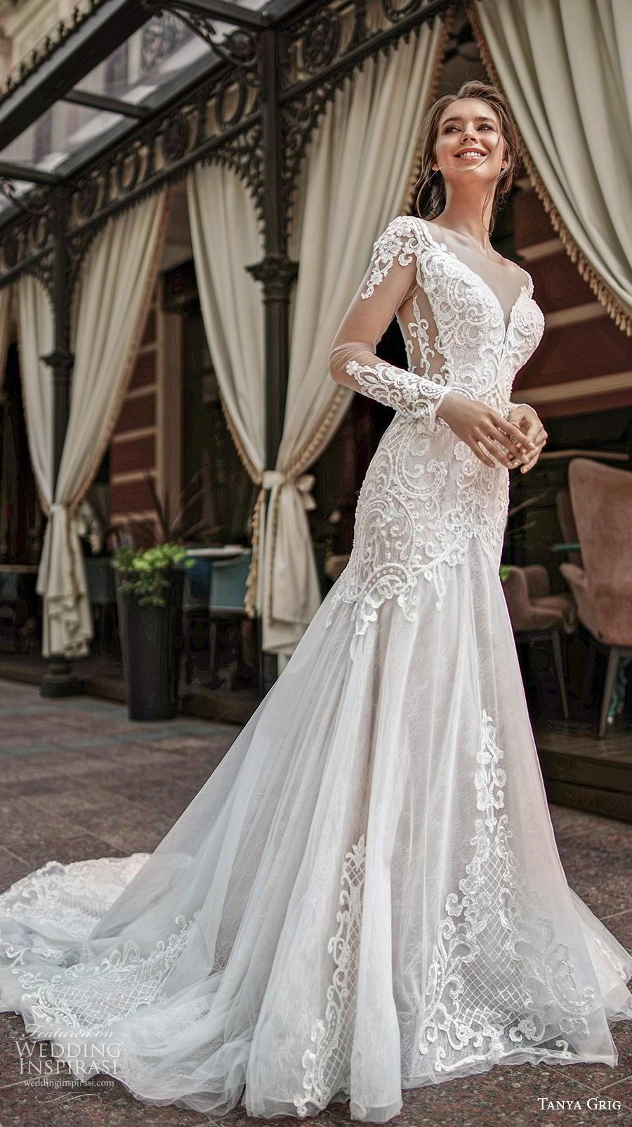 tanya grig 2020 bridal long sleeves illusion bateau deep sweethert neckline heavily embellished bodice elegant glamorous trumpet wedding dress v back chapel train (3) mv