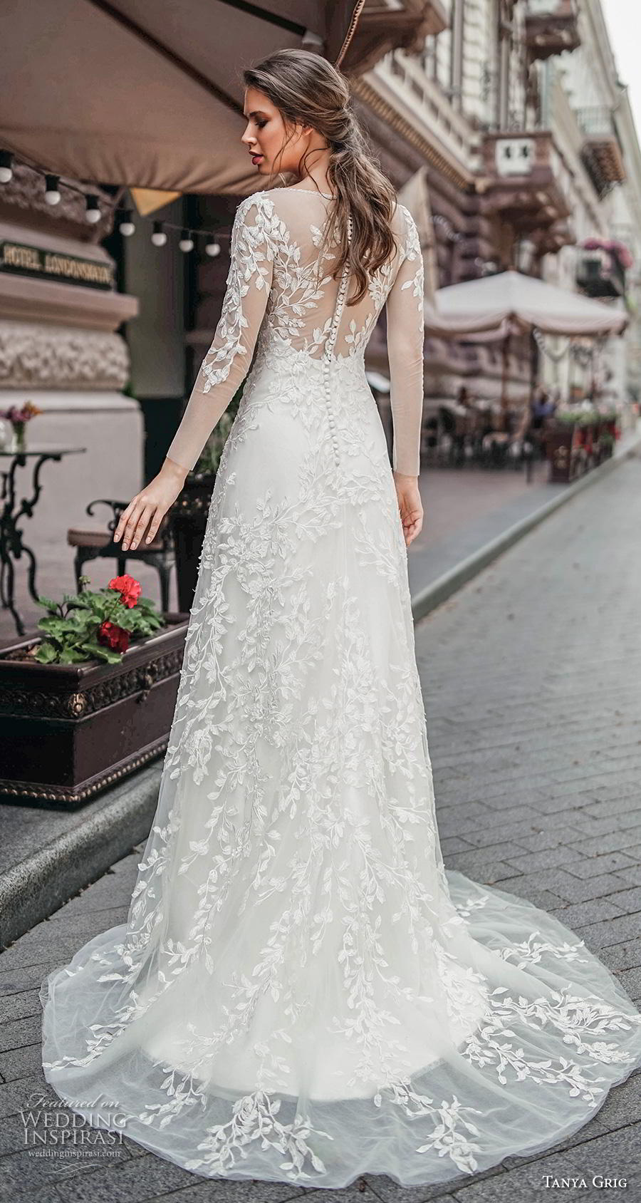 tanya grig 2020 bridal long sleeves v neck full embellishement elegant modified a  line wedding dress lace button back sweep train (13) bv