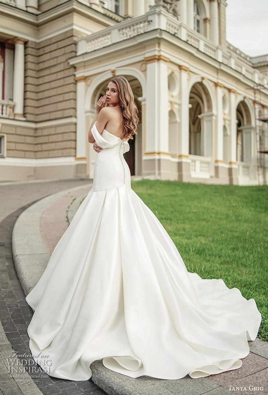 tanya grig 2020 bridal off the shoulder sweetheart neckline simple clean minimalist elegant mermaid wedding dress mid back chapel train (11) bv
