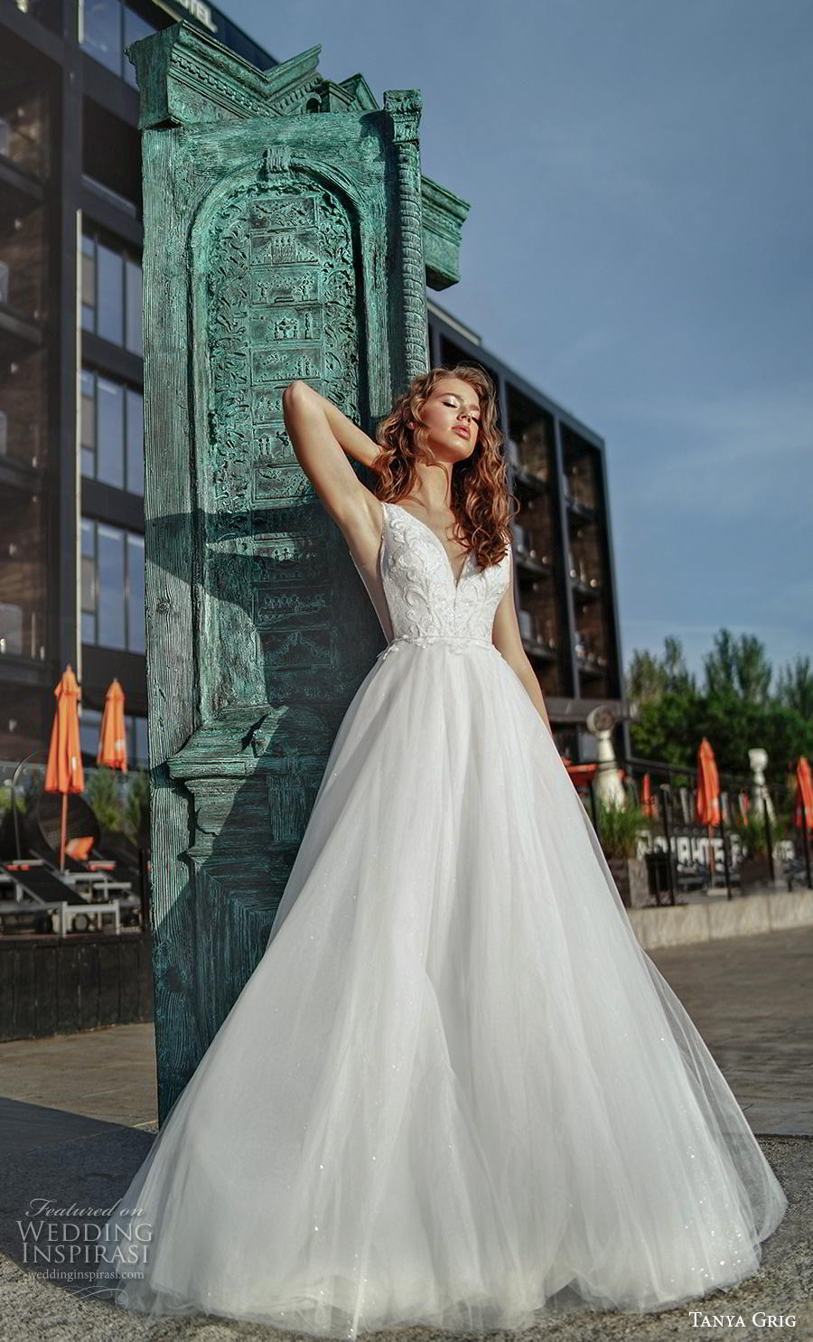 tanya grig 2020 bridal sleeveless deep v neck heavily embellished bodice open side romantic a  line wedding dress v back chapel train (18) mv