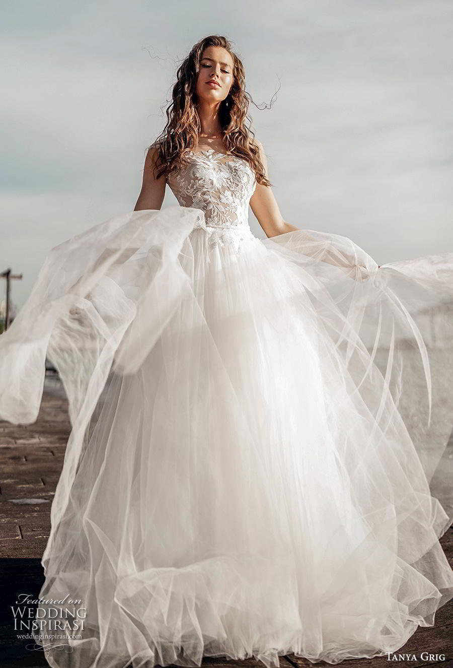 tanya grig 2020 bridal sleeveless illusion bateau heavily embellished bodice romantic soft a  line wedding dress sheer button back chapel train (9) mv