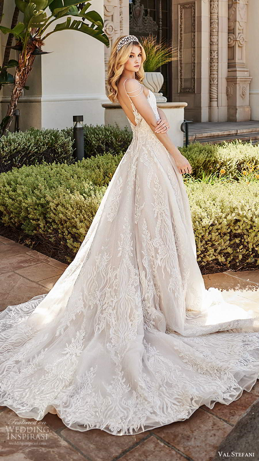 val stefani spring 2020 bridal cold shoulder sleeveless thin straps v neckline fully embellished a line ball gown wedding dress scoop back chapel train (5) bv